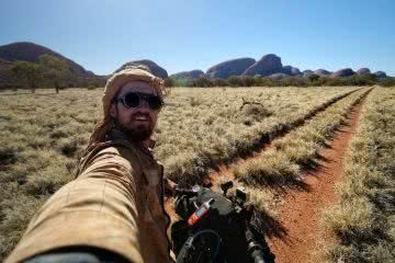 Expedition Dust Reaches Halfway // An Interview With Brando Yelavich, photo by Brando Yelavich, red centre, cycling, expedition dust