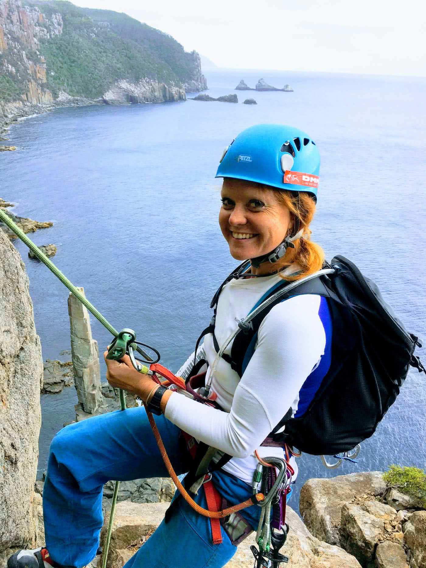 Searching for redemption on the Freycinet Sea Level Traverse, by Polly Barr, cliffs, climbing girl, ropes,