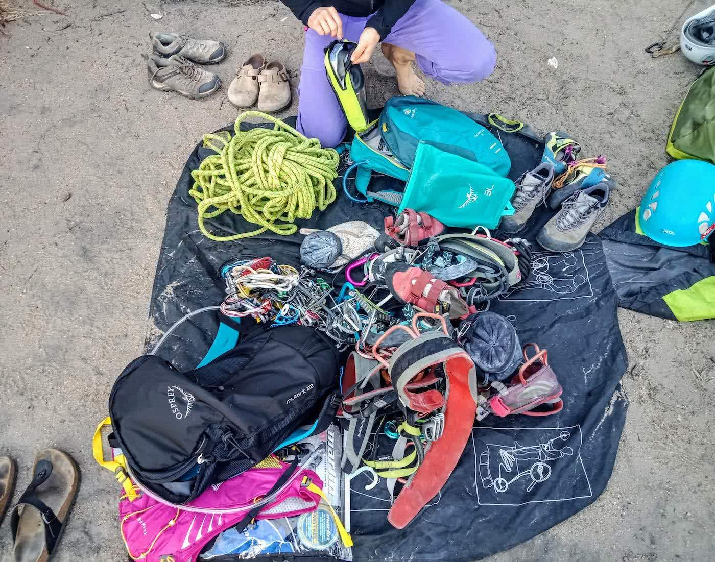 Searching for redemption on the Freycinet Sea Level Traverse, by Polly Barr, flat lay of gear for the traverse