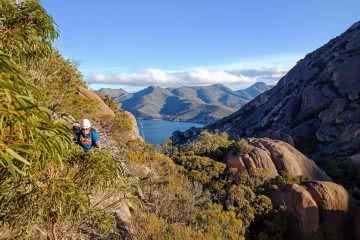 Searching for redemption on the Freycinet Sea Level Traverse, by Polly Barr, cliffs, bay, ocean, a route home