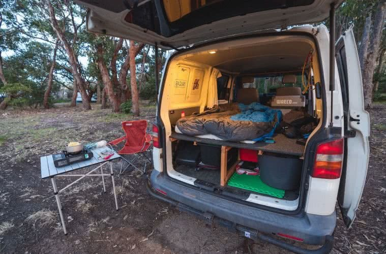 van setup, photo by jon harris, mystery bay, far south coast, nsw