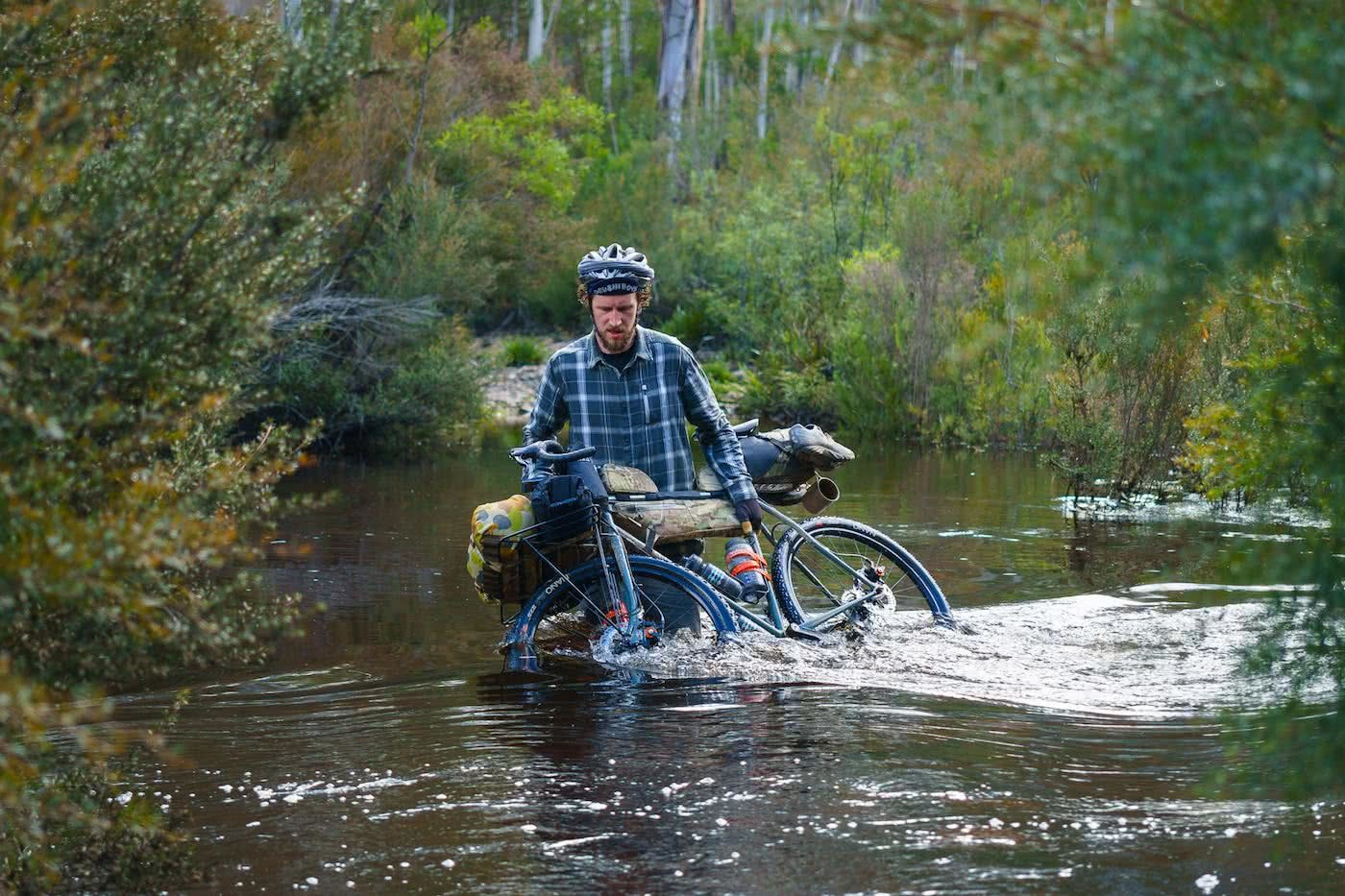 Aussie Adventure Makers / Bikepacking Edition by Mattie Gould, photo by Adam Lee, Keith water-crossing