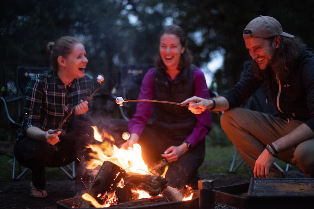 Great Australian Survivors' Trek Reaches Sydney, Nic Morley photography, james squire, campfire, marshmallows, hikers