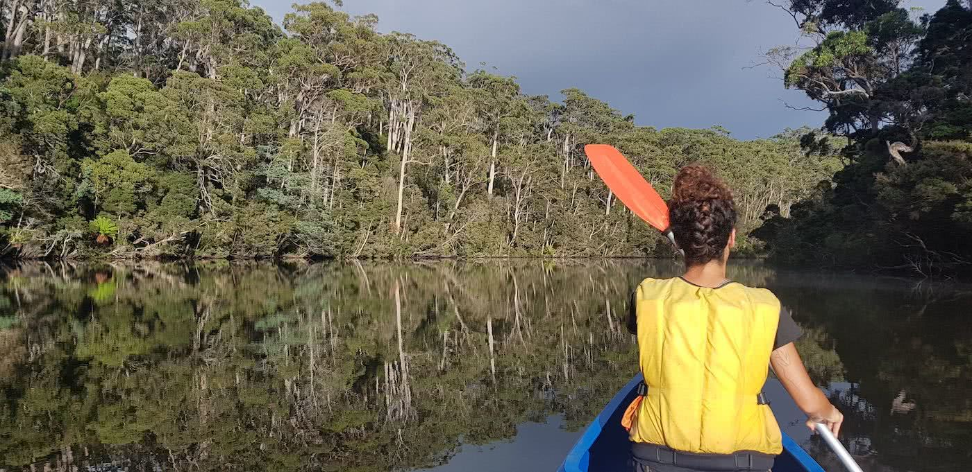 Escaping Tassie's Heat On The Arthur River // Arthur River (TAS), reflection, woman, canoe