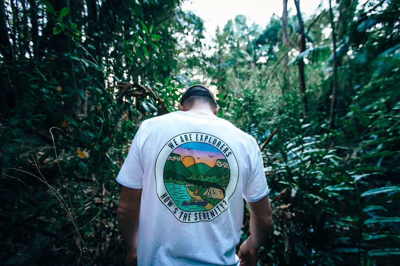 We Are Explorers Merch Store is Live, by Mattie Gould, WAE merch, serenity tee in the wild