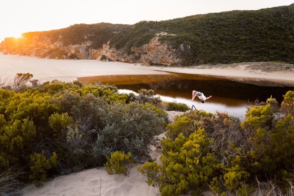 Quiet Camping & Cracking Clifftops // Aire River - Great Ocean Road (VIC), photo by Lachlan Fox, beach, backflip