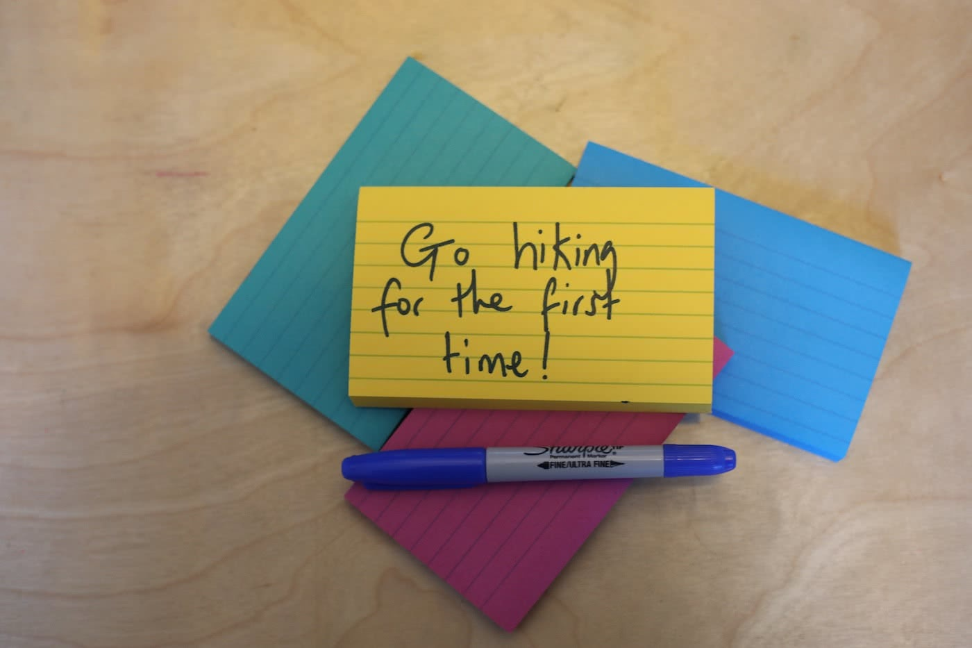 time to live more adventurously post-it