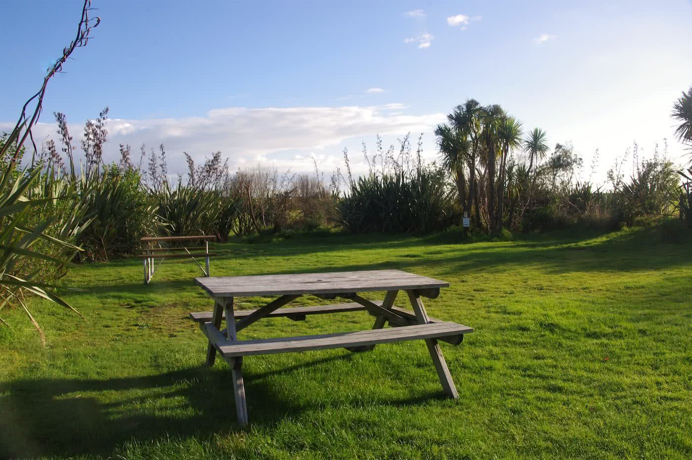 Create Your Own Playground // Ōkārito (NZ), picnic bench, grass