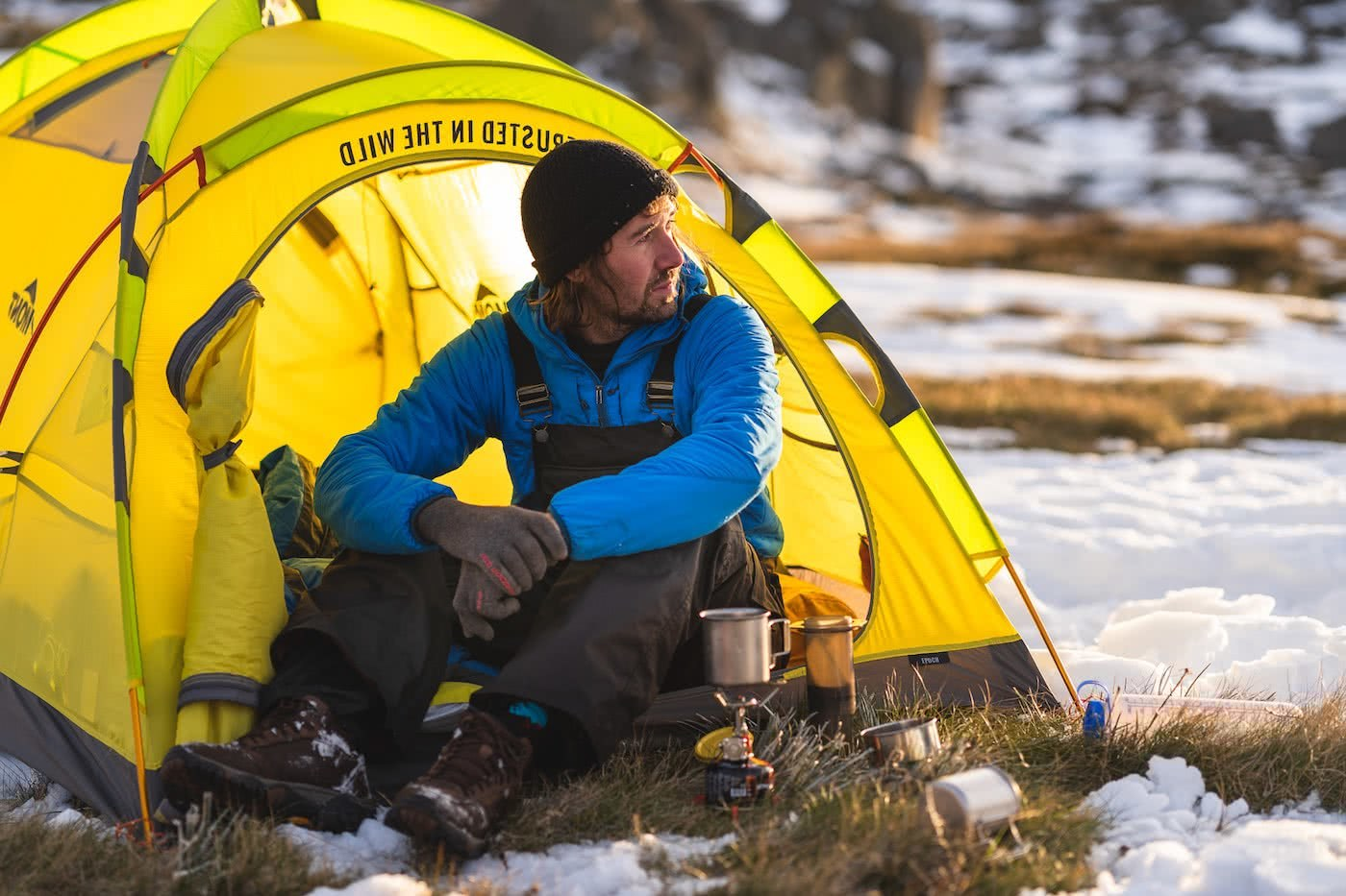 Spring Snow Campout // Main Range (NSW) by Mattie Gould, photo by Jon Harris, coffee, tent