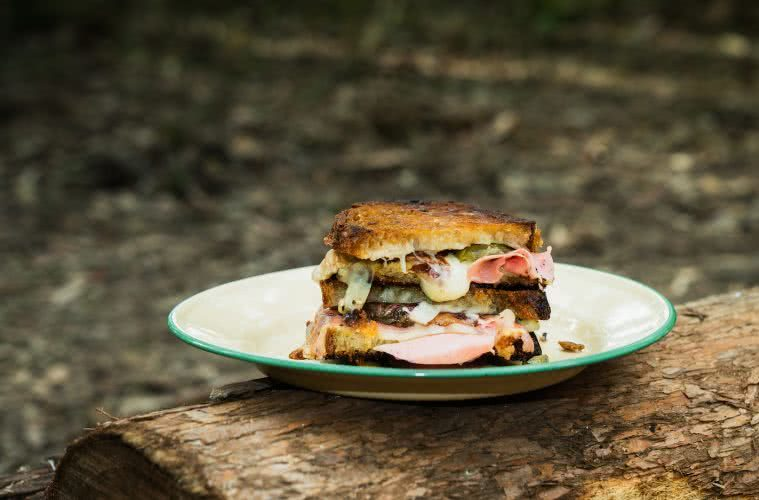Drool Over This Gourmet Campfire Toastie // Camp Kitchen, Jonathan Tan, sandwich, Cheese, plate, log