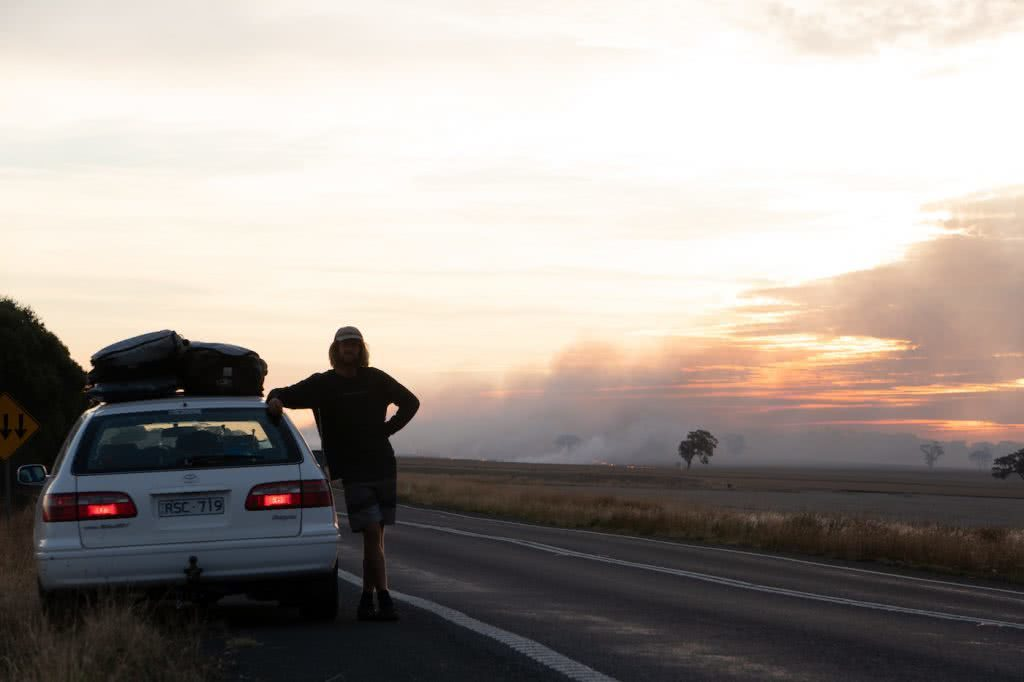 Barren, Wild & Clean // Road Trippin' The South Aus Coast, man, car, fires, smoke
