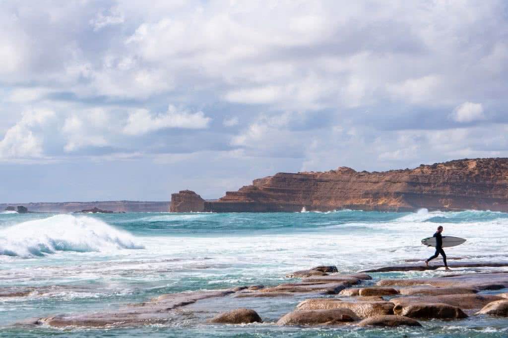 Barren, Wild & Clean // Road Trippin' The South Aus Coast, ocean, cliffs, surfer