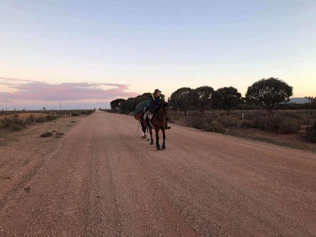 Hoofing It Across The Nullarbor, dirt road, horse, woman