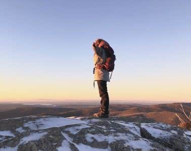Kate Donald, Osprey Renn 50L Pack // Gear Review, sunrise, woman, mountains, snow