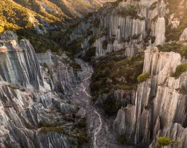 Mitch Cox, Playing Amongst The Putangirua Pinnacles (NZ), overhead view, rocks, pinnacles