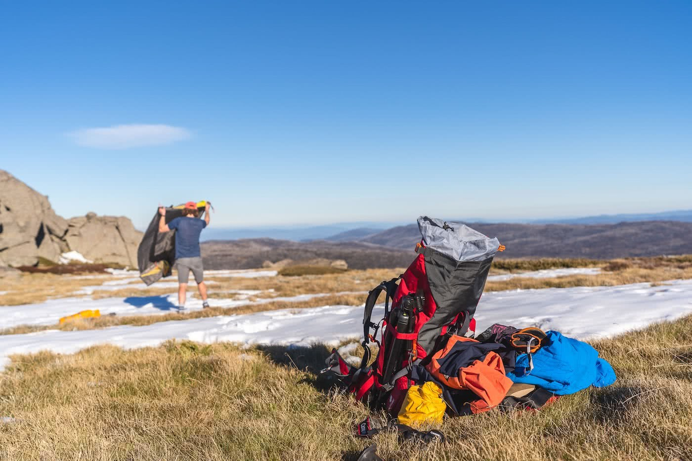 Spring Snow Campout // Main Range (NSW) by Mattie Gould, photo by Jon Harris, hiking, backpack, kathmandu, snow tent