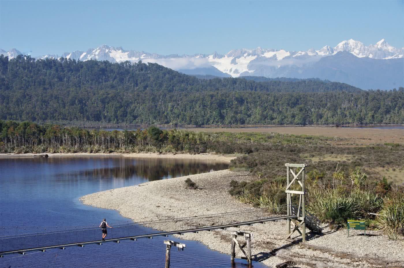 Create Your Own Playground // Ōkārito (NZ), mountains, lake, bridge