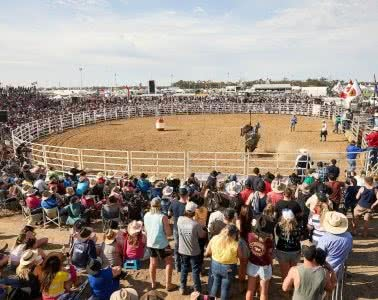 Fair Dinkum Aussie Fun At The Deni Ute Muster, Pat Corden, crowd, rodeo, bull, cowboy