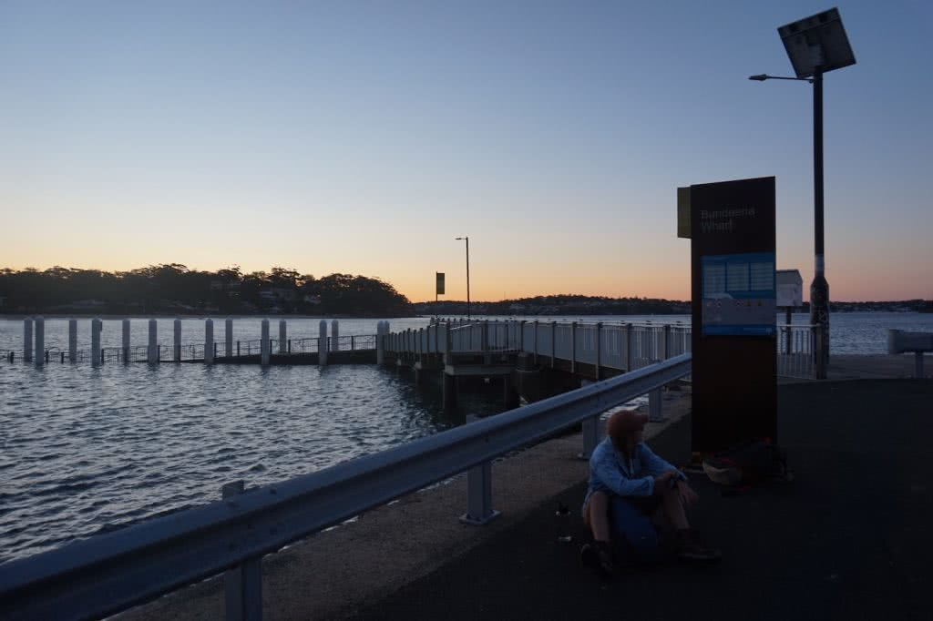 Choo-choo-choose the train for your next adventure, Amy Fairall, Bundeena Wharf, Ruby, woman, water, night, ferry