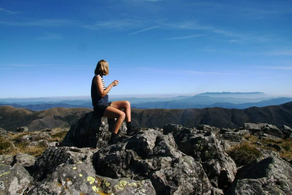 Check Out These Epic Views And Delicious Brews, Hilary McAllistar- Mt Loch Summit, on the Huts Trail walk, Mt Hotham, coffee