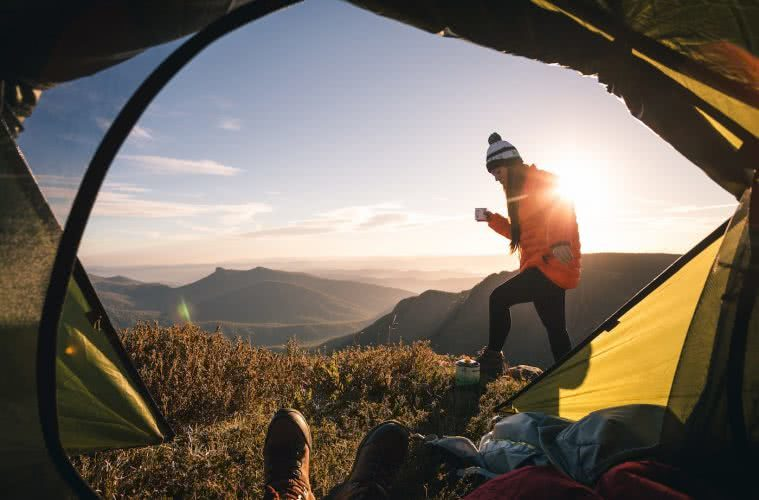 Check Out These Epic Views And Delicious Brews, Jamie Humby, coffee, tent, sunrise, mountains