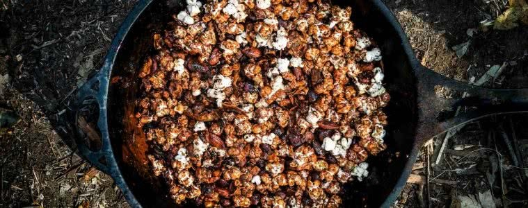 This Sweet 'n' Salty Popcorn Granola Is The Perfect Snack Attack, photo by Jonathan Tan, popcorn, pan