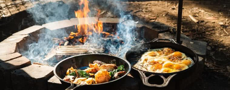 Feed The Camping Masses With This Crispy Eggy Breaky, photo by Jonathan Tan, fry pans, fire, breakfast, eggs