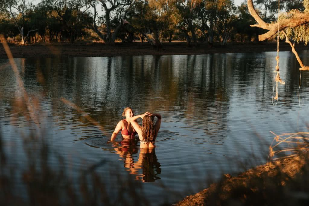How To Drive From Adelaide To Uluru The Explorer's Way, Adrian Mascenon, Waterhole near Dalhousie, women, river, desert, trees