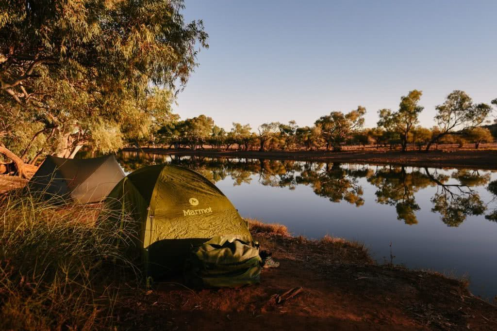 How To Drive From Adelaide To Uluru The Explorer's Way, Adrian Mascenon, waterhole, camping, sunset, desert, trees