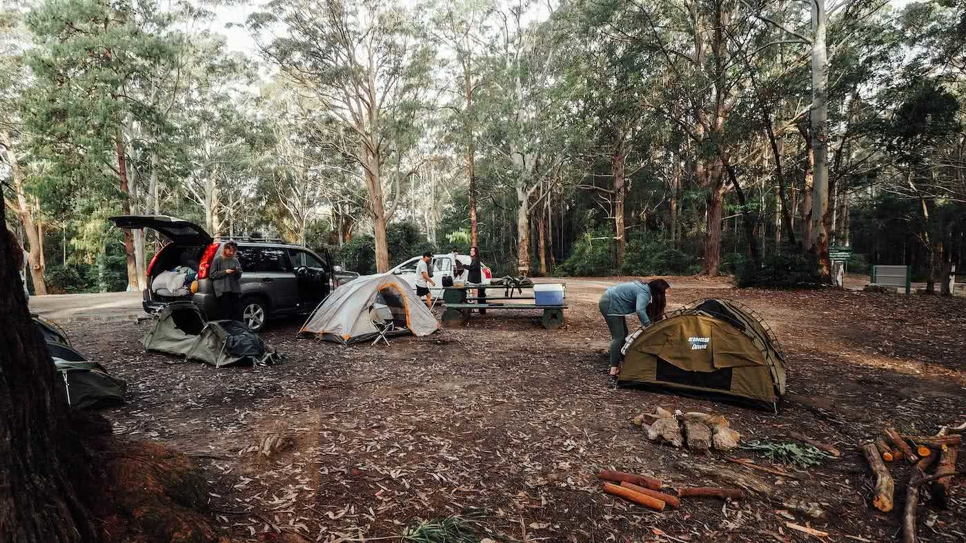 Escape The Rat Race With A Cheeky Weekend In Lake Macquarie, photo by Damon Tually, camping, tent, friends, Watagans