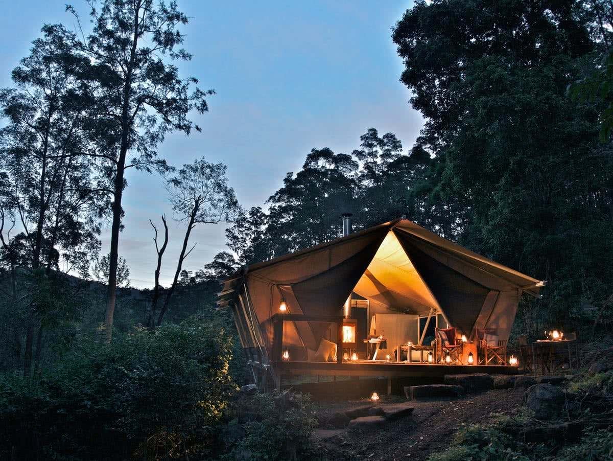 nightfall, glamping tent, queensland