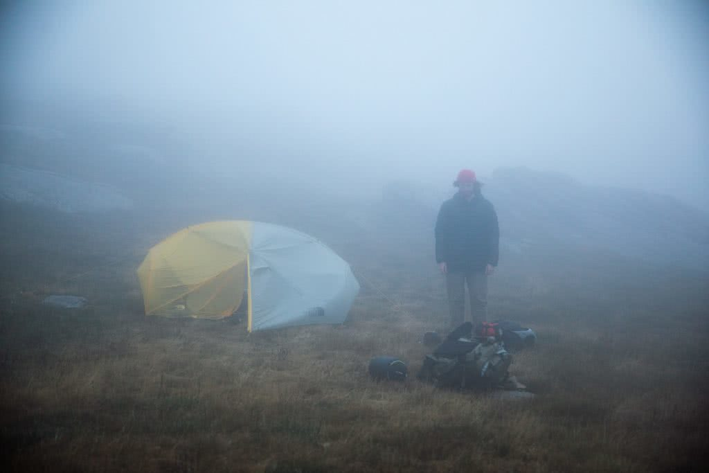 Almost Alone In The Aussie Alps, Aedan O'Donnell, Charlotte's Pass, fog, mist, tent, mountains, man