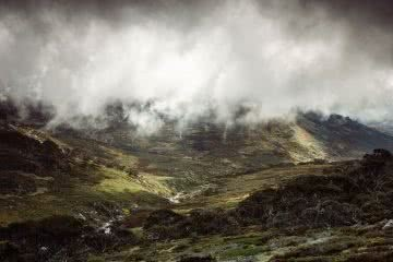 Almost Alone In The Aussie Alps, Aedan O'Donnell, Charlotte's Pass, cloud, mist, mountains, green, grass