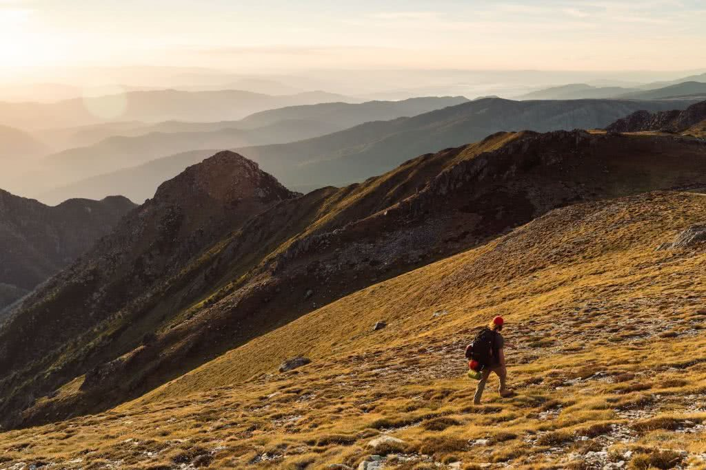 Almost Alone In The Aussie Alps, Aedan O'Donnell, Charlotte's Pass, man, mountains, sunset