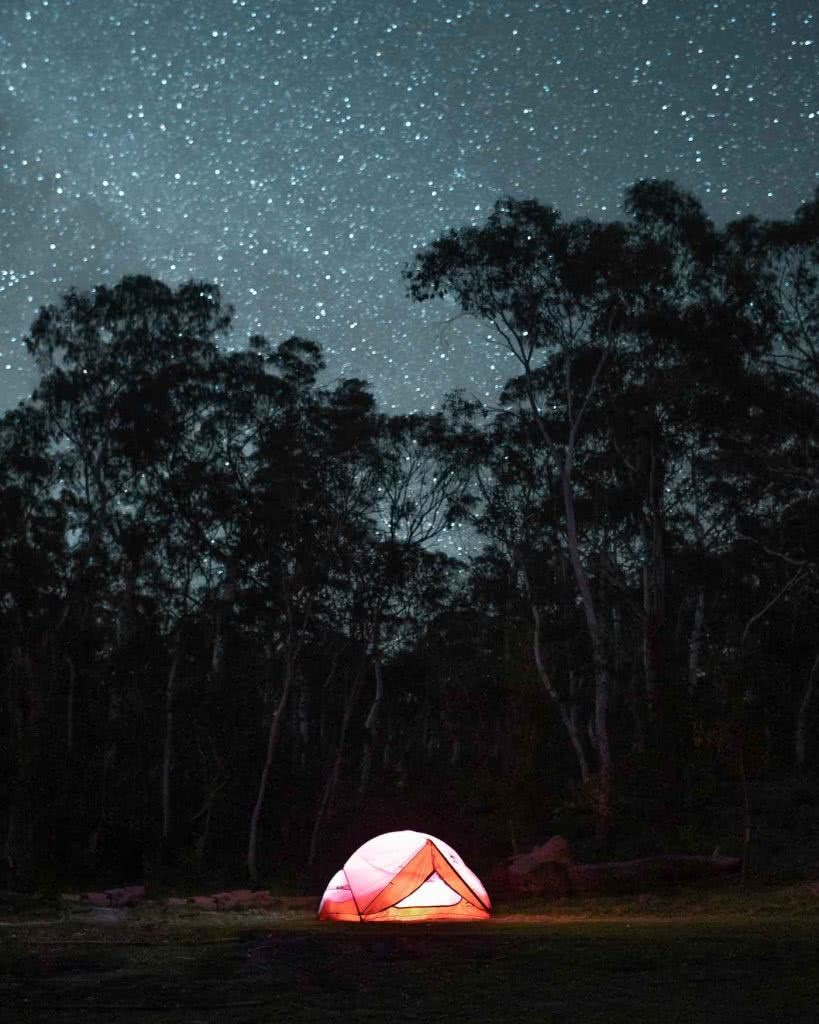 8 Great Reasons To Take Your Mates To Eurobodalla, photo by Fin Matson, Berlang Campground, astrophotography, tent, night sky, stars, gum trees, torch