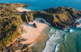 8 Great Reasons To Take Your Mates To Eurobodalla, photo by Fin Matson, Mullimburra Point, drone shot, rocks, beach, ocean, headland