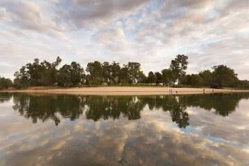 Wagga Beach Shortlisted For The Top 20 Beaches Of 2020, image courtesy of Visit Wagga, river, beach, sky , reflection