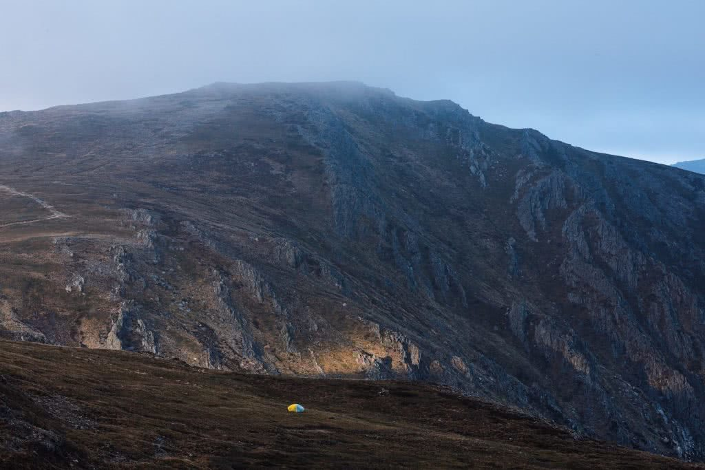 Almost Alone In The Aussie Alps, Aedan O'Donnell, Charlotte's Pass, mountain, tent, mist