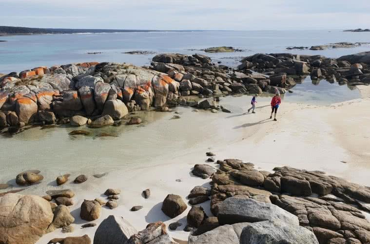 Family Fun At The Bay Of Fires, Leonie Waldron, kids, water, rocks, ocean, lichen