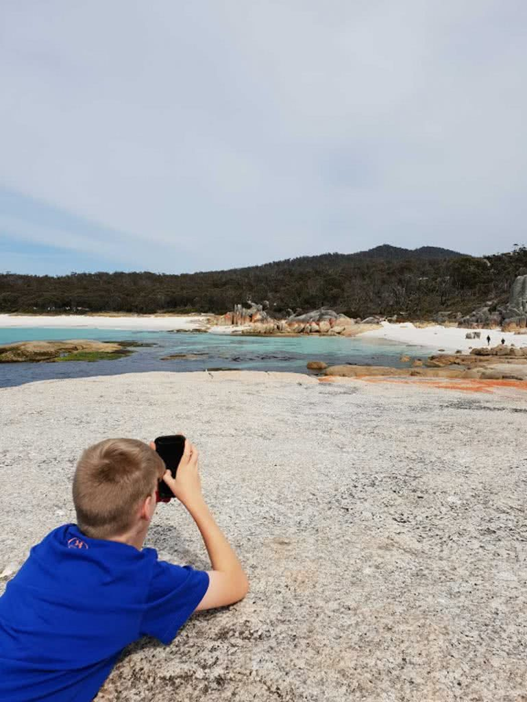 Family Fun At The Bay Of Fires, Leonie Waldron, boy, rocks, water, photo
