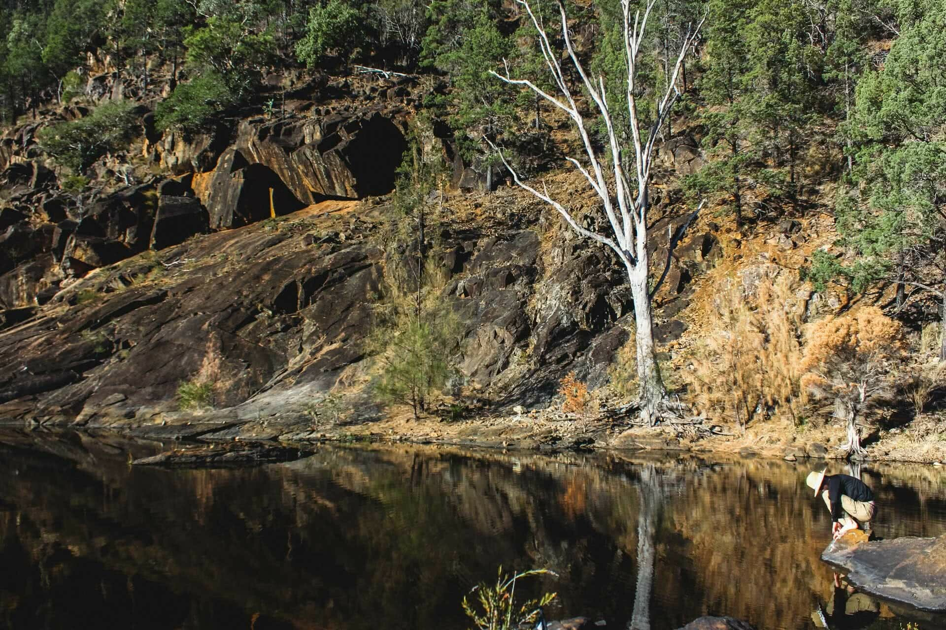 Sun-up to Sundown National Park – The Mt Donaldson Circuit (QLD), Saphira Schroers, Early Morning at Wallaby Rocks Waterhole, river, cliffs, gumtree