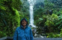 Team Timbuktu Tech Jacket // Gear Review, photo Jonathan Tan, Erskine Falls, rainforest, Amy, rain