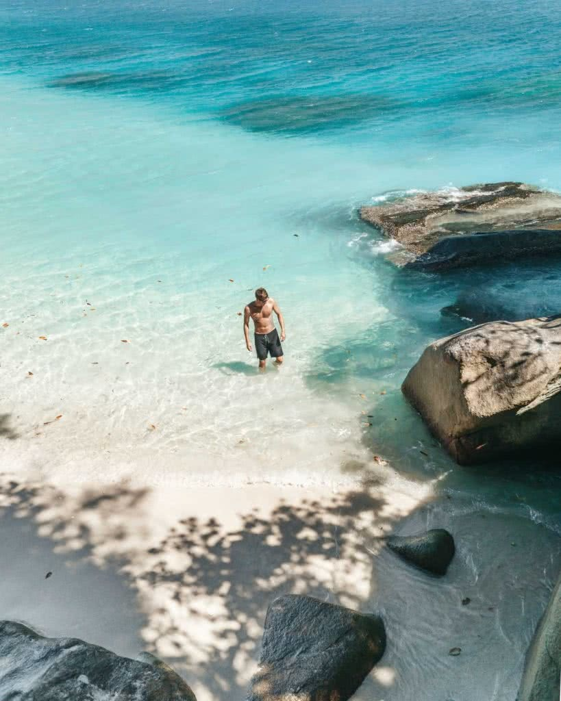 Find Your Paradise On Fitzroy Island (QLD), Scott Pass, Nudey Beach, sand, sea, water, swimming, man