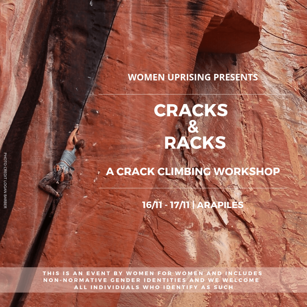 Check Out These Women Only Rock Climbing Events Happening This Month, photo supplied by Women Uprising, cracks and racks, women climbing, rock, cliff