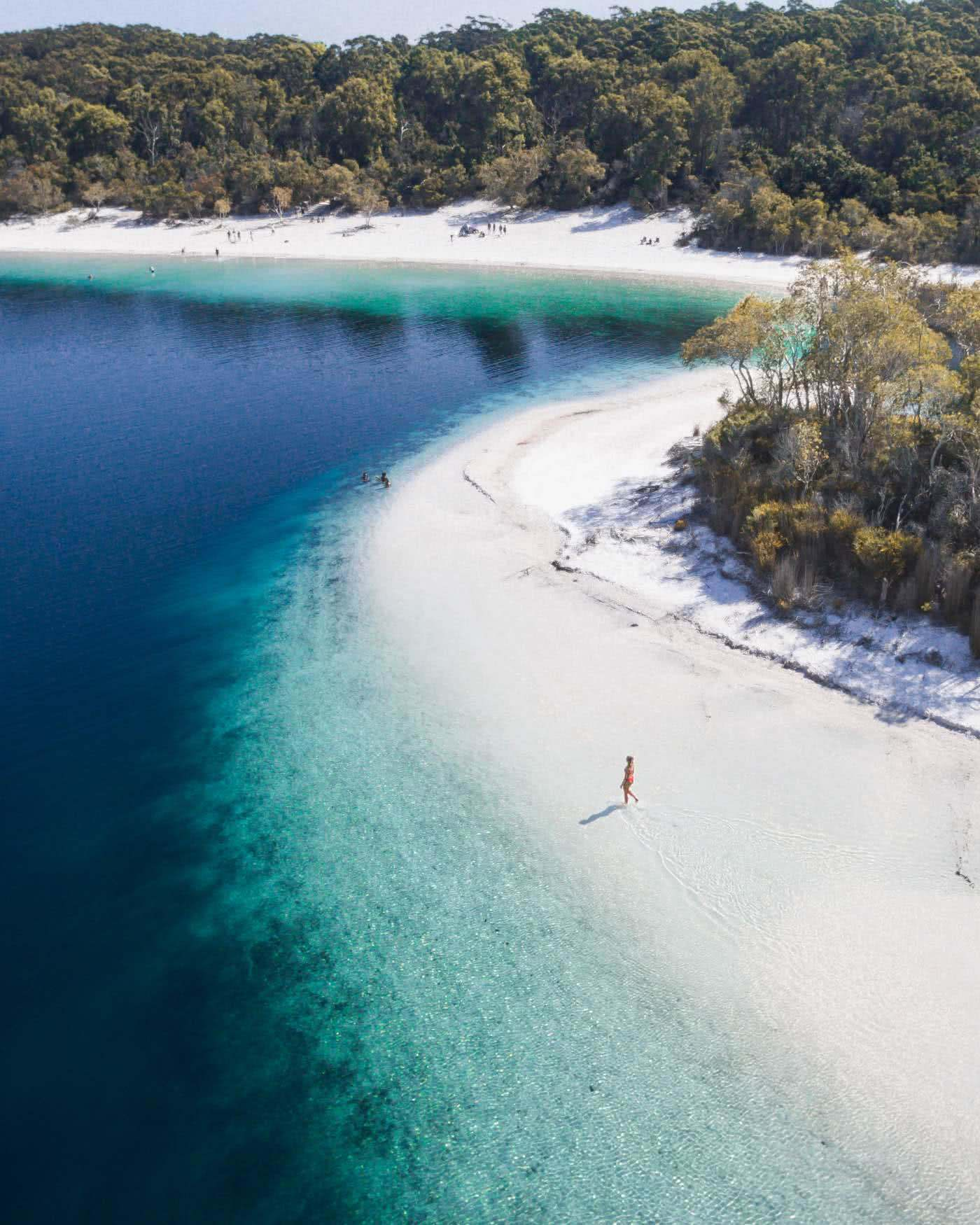 Fraser Island: Hiking To Lake McKenzie (No 4WD Required), Scott Pass, blue water, lake, woman, sand, rainforest