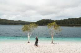 Fraser Island: Hiking To Lake McKenzie (No 4WD Required), Scott Pass, gumtrees, woman, lake, blue water, mountains