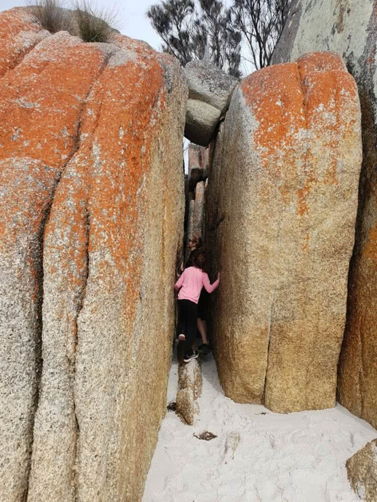 Family Fun At The Bay Of Fires, Leonie Waldron, rocks, kids, lichen, sand