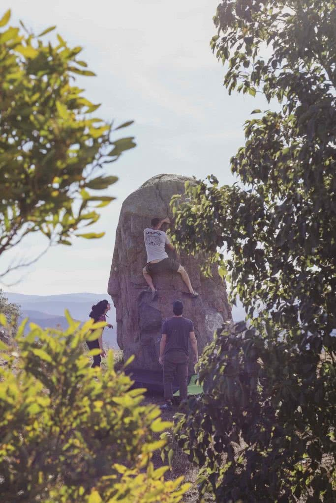 Outdoor Bouldering 'Over The Fence' In Canberra, Mattie Gould, boulder, climbing, trees, rock