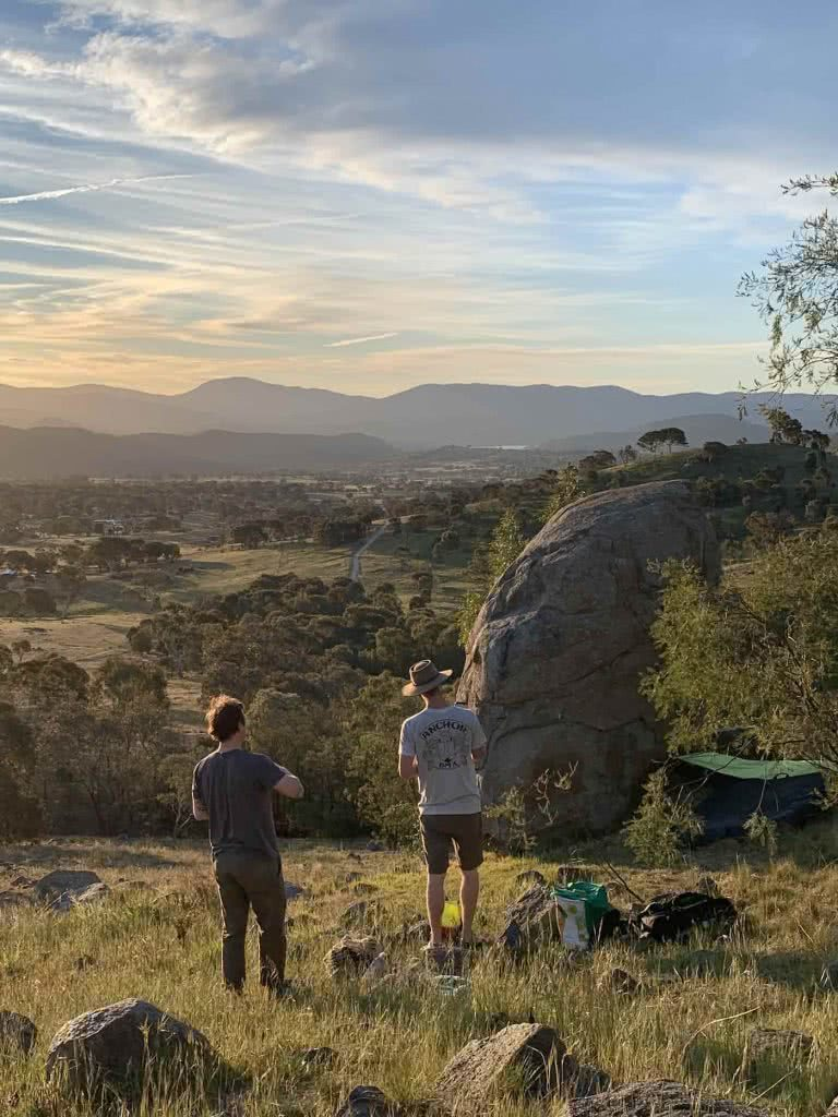 Outdoor Bouldering 'Over The Fence' In Canberra, Mattie Gould, boulder, view, sunset, friends, farmland