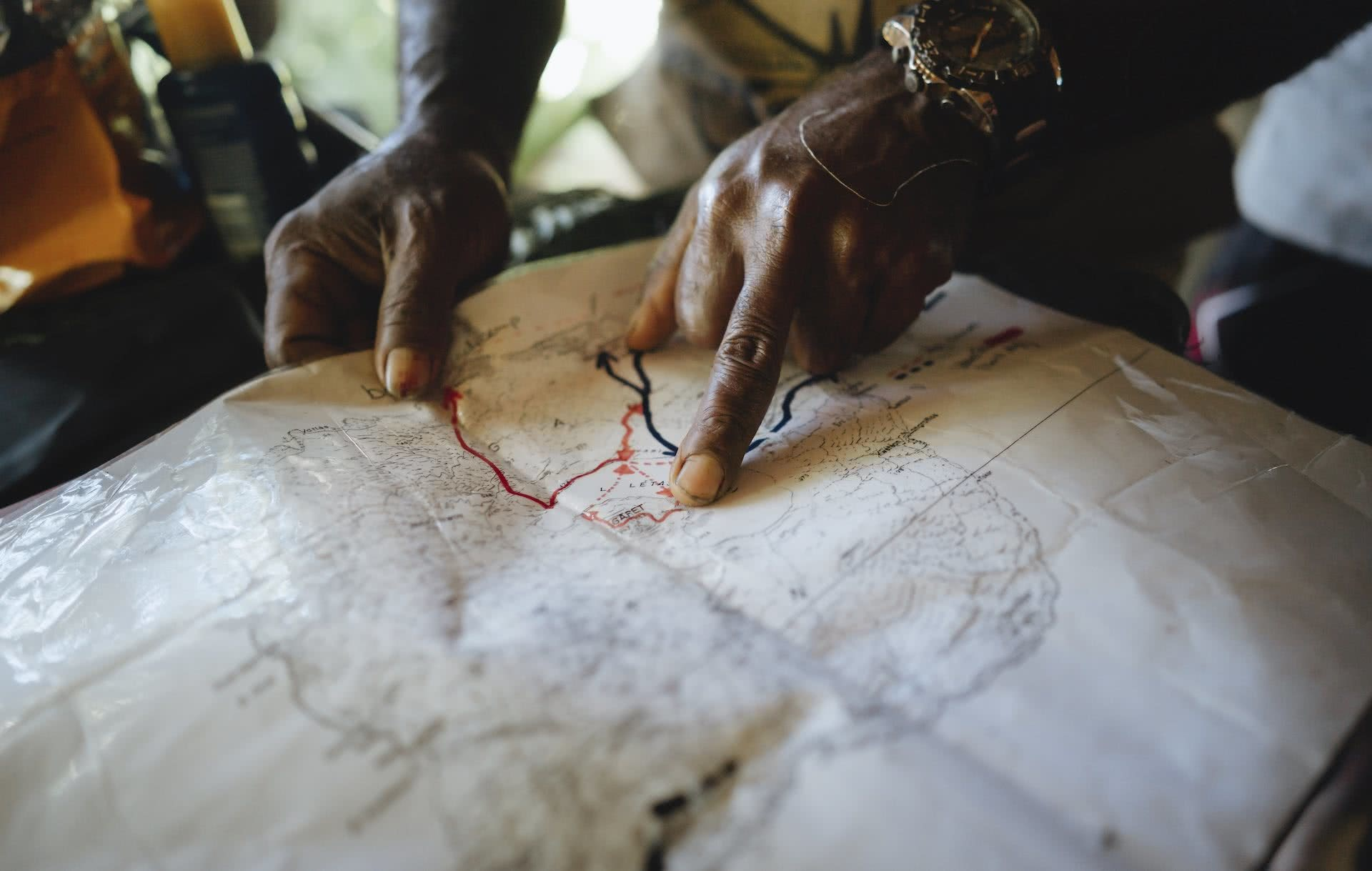 10 Things You Need To Know When Travelling Vanuatu's Outer Islands, Ruby Claire, photos by Ain Raadik and Ben Savage, map, hand, finger, point, Gaua - Mt Garet Hike